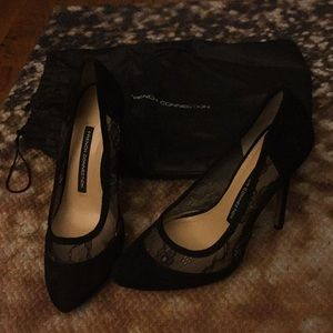 French Connection Black Suede Heels w/ Lace Detail